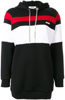 MSGM oversized stripe panel hoodie