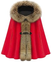 OCHENTA Women's Ladies Girls Faux Fur Knitwear Pounch Cloak Shawl Wrap Cape Coat L - US M