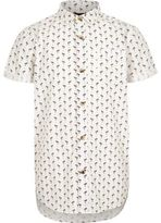 River Island Boys white flamingo print short sleeve shirt