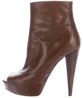 Sergio Rossi Peep-Toe Leather Boots