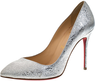 Christian Louboutin Silver Foil Leather Corneille Pointed Toe Pumps Size 36.5