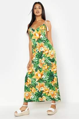 boohoo Woven Tassel Floral Palm Maxi Dress