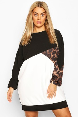 boohoo Plus Leopard Colour Block Sweat Dress