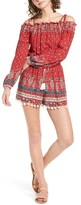 Band of Gypsies Women's Print Pompom Cold Shoulder Romper