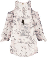 Haute Hippie The Flowers In The Sun Cold-Shoulder Ruffled Silk-Chiffon Mini Dress