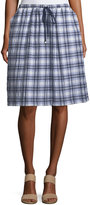 Max Studio Crinkled Plaid A-Line Skirt