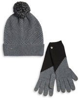 UGG Pom-Pom Wool-Blend Hat and Smart Gloves Set