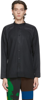 Homme Plissé Issey Miyake Black Collarless Press Shirt