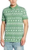 Benetton Men's Palm Tree Floral Short Sleeve Polo Shirt