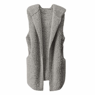 Kalorywee Coats KaloryWee Womens Gilet with Hood Waistcoat Jacket Vest Sherpa Winter Fluffy Fleece Flannel Warm Coat Gray