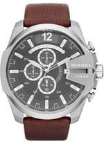 Diesel 'Mega Chief' Leather Strap Watch, 51mm