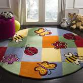 Safavieh Kids Collection SFK753A Handmade Multicolored Cotton Round Area Rug, 4 feet in Diameter (4' Diameter)