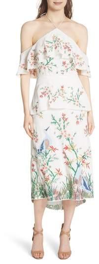 Alice + Olivia Golda Embroidered Midi Halter Dress
