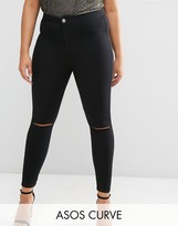 Asos Rivington Jegging in Clean Black with Rips