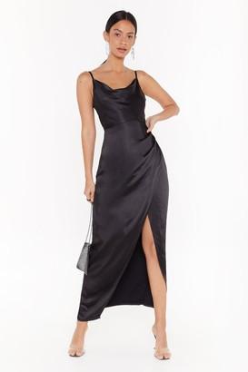 Nasty Gal Womens Cowl Play Satin Maxi Dress - black - 4