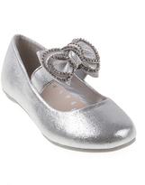 KensieGirl Silver Bow Ballerina Flat - Girls
