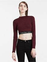 Calvin Klein Logo Band Long Sleeve Cropped Top