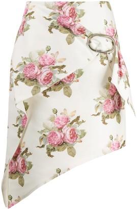 Paco Rabanne Rose-Print Wrap Skirt