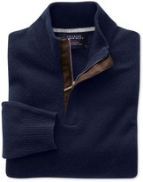 Charles Tyrwhitt Navy cashmere zip neck sweater