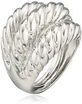 Kenneth Jay Lane Polished Silver-Tone 3-Twist Ring, Size 5-7