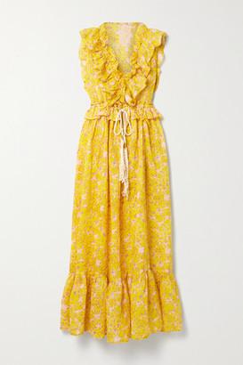 Yvonne S Marie Antoinette Ruffled Floral-print Linen Maxi Dress - Yellow