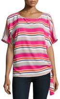 Michael Kors Striped Tie-Accented Top
