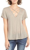 LnA Women's V-Neck Strap Detail Tee