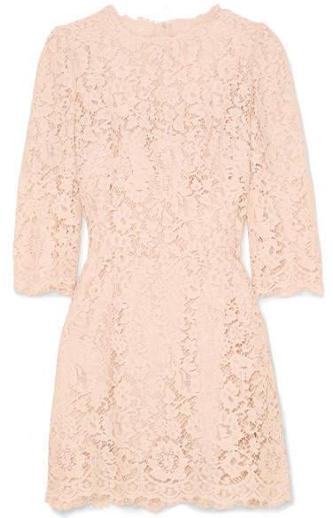 Dolce & Gabbana Crystal-embellished Corded Lace Mini Dress - Blush