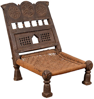 One Kings Lane Vintage Indian Antique Rustic Low Seat Chair - FEA Home