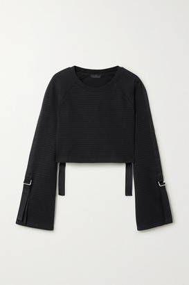 The Range Ripple Cropped Ribbed Stretch-cotton Sweater - Black
