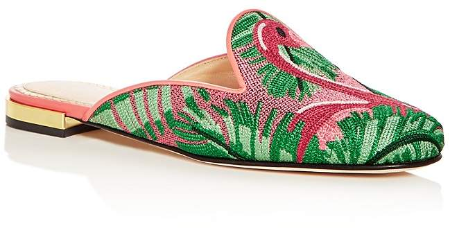 Charlotte Olympia Women's Flamingo Embroidered Mules