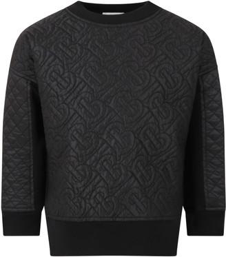 Burberry Black Sweatshirt For Kids With Logos