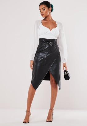 Missguided Petite Black Faux Leather Wrap Front Skirt