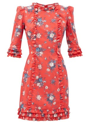 The Vampire's Wife The Cate Floral-print Ruffled Cotton Mini Dress - Red Multi