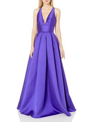 Mac Duggal Womens X Back Wide Waistband Gown
