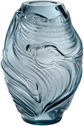 Lalique Medium Poissons Vase, Persepolis Blue