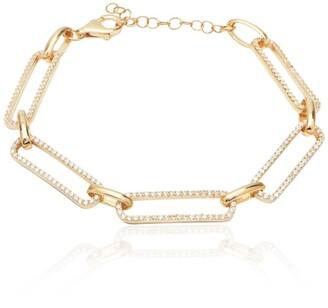 Gab+Cos Designs 14K Gold Plated Crystal Pave Link Bracelet