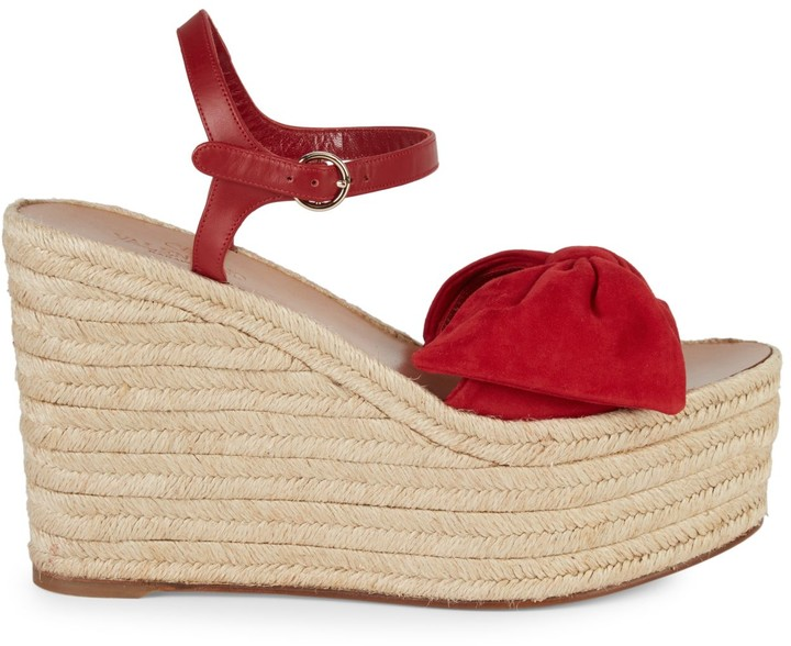 8e3bc9916fa Suede Bow Espadrille Wedge Sandals