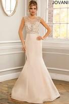Jovani Crystal Beaded Jewel Neck Mermaid Gown 22637