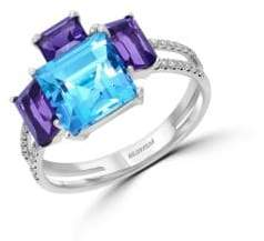 Effy Mosaic 14K White Gold and Multi-Colored Stone Ring