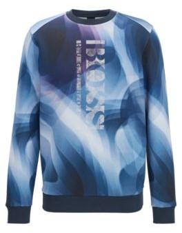 HUGO BOSS Slim Fit Sweatshirt With All Over Digital Print - Dark Blue