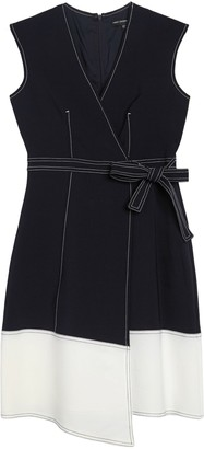 Maggy London Colorblock Cap Sleeve Faux Wrap Midi Dress