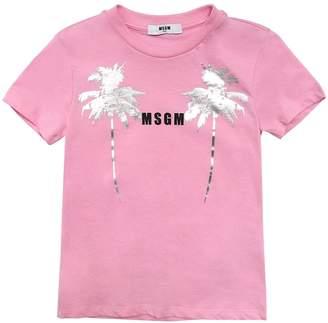 MSGM Palm Logo Printed Cotton Jersey T-shirt