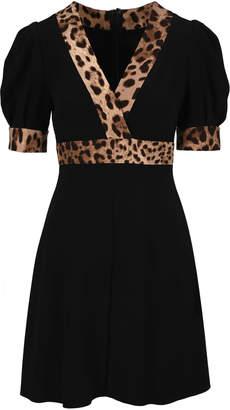 Dolce & Gabbana Leopard Print Trimmed Flared Dress