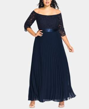 City Chic Trendy Plus Size Intriguing Off-The-Shoulder A-Line Gown
