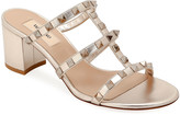 Valentino Garavani Rockstud Caged Metallic Leather Slide Sandals