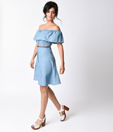 Trendnotes Retro 1940s Style Light Blue Denim Button Up Shirt Dress
