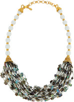 Jose & Maria Barrera Golden Multi-Strand Abalone & Glass Bead Necklace