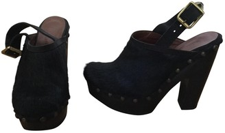 Sonia Rykiel Black Fur Mules & Clogs