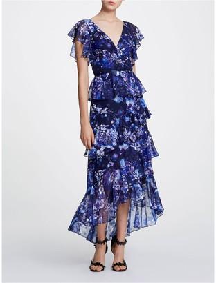 Marchesa Notte Flutter Sleeve V-Neck Tea-Length Gown